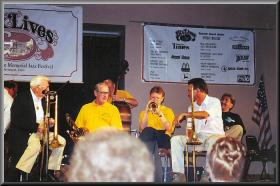 Geoff at the Bix Beiderbecke Memorial Jazz Festival,Davenport,Iowa,USA,1998.The trombonist on the left is 96 year old Speigle Wilcox,who played & recorded with Bix in the Jean Goldkette Orchestra, 1927.