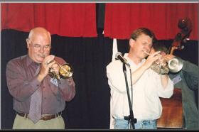 Geoff with Bob Barnard,Suncoast Jazz Festival,St Helen's,Tasmania 2002