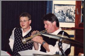 Geoff with Tom Baker in the Cafe Society Orchestra, Unity Hall Hotel, Balmain, NSW.